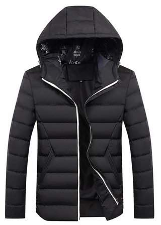 Every Winter Men Thick Jacket Comfortable Men Cotton Outwear Hooded Jacket Coat Black 3XL