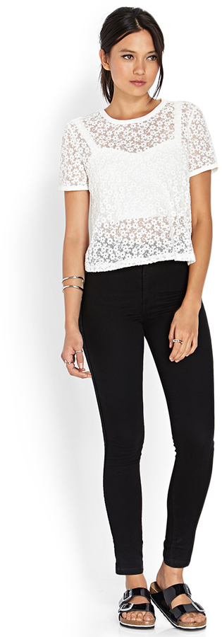 Forever 21 Groovy Floral Mesh Top