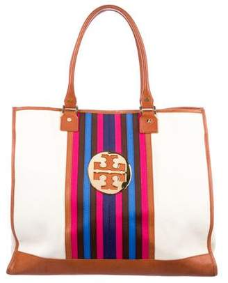 Tory Burch Leather-Trimmed Stripe Canvas Tote