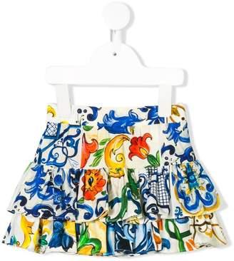 Dolce & Gabbana majolica-print tiered ruffled skirt