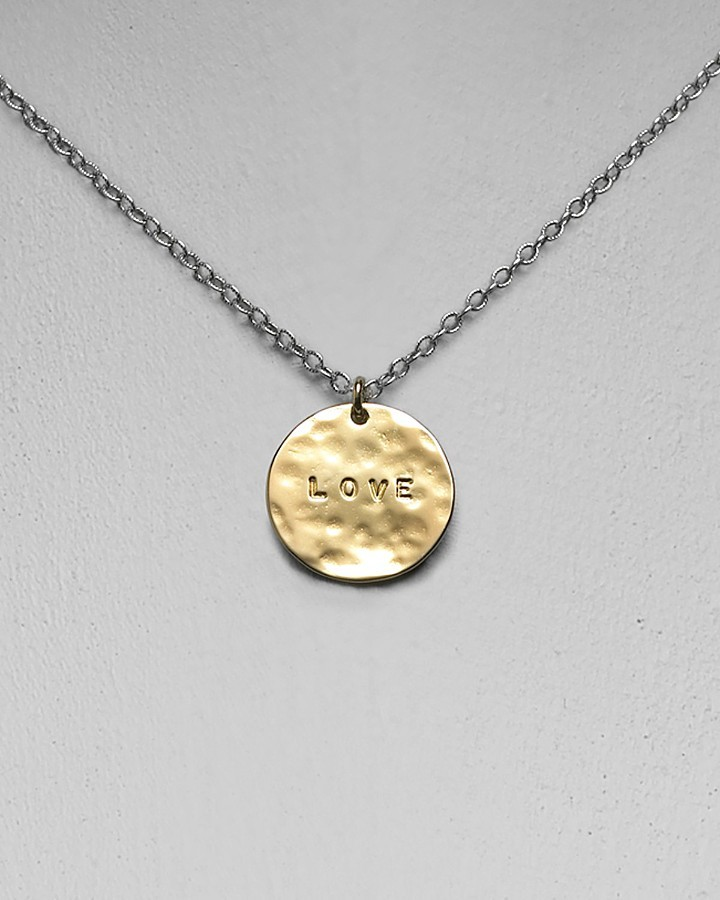 GK Designs Women's Single Love Hammered Disc Necklace, 16