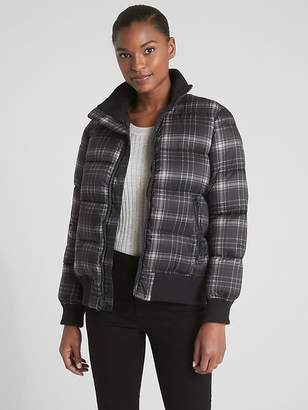 Gap Plaid Print Puffer Bomber Jacket