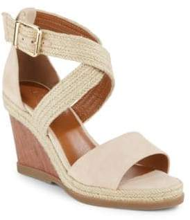 Halston H Leather Wedge Sandals