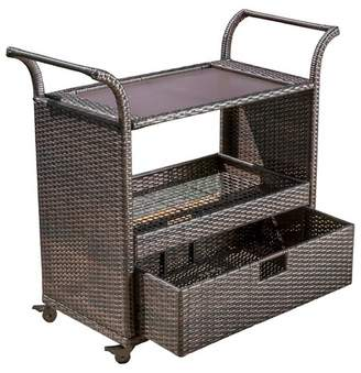 Christopher Knight Home Corona Wicker Outdoor Serving Cart - Brown
