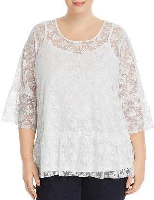 JUNAROSE Plus Butterfly Lace-Overlay Top