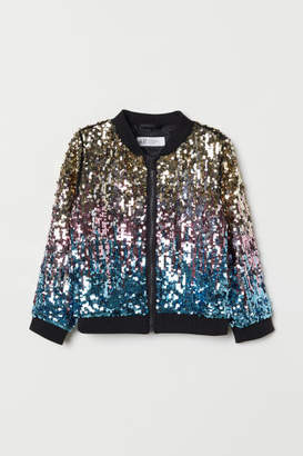 H&M Bomber Jacket with Sequins - Black