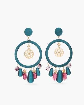 Multi-Colored Stone Hoop Earrings