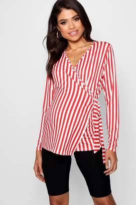 boohoo Maternity Fifi Stripe Long Sleeve Wrap Top
