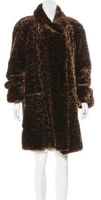 Neiman Marcus Leopard Print Knee-Length Coat