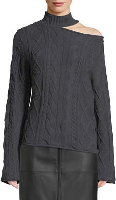 RtA Langley Turtleneck Cutout Cable-Knit Sweater