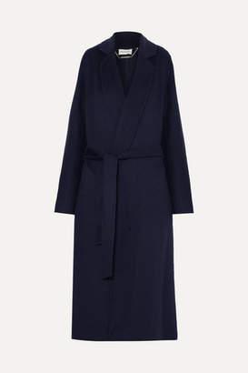 By Malene Birger Vitala Belted Wool-blend Coat - Navy