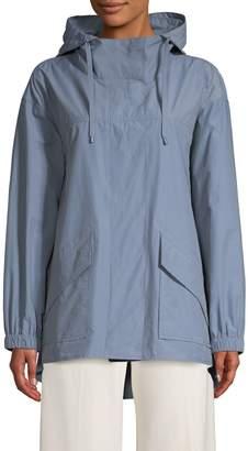 Eileen Fisher Hooded Cotton Blend Jacket