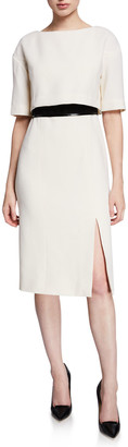 Atelier Caito For Herve Pierre 1/2-Sleeve Bow-Back Belted Cocktail Dress