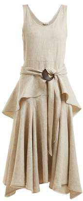 Isa Arfen Scoop Neck Linen Dress - Womens - Beige