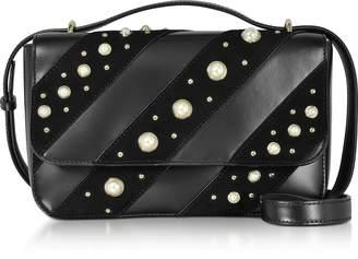 Karl Lagerfeld Black Leather K/Ikonik Pearls Crossbody Bag