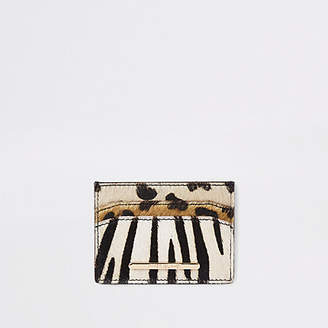 River Island Brown leather mixed print card holder
