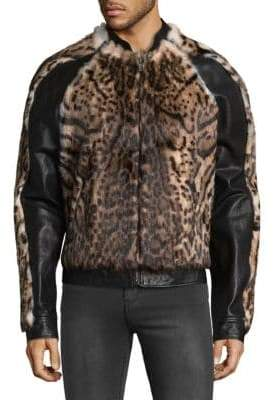 Roberto Cavalli Rabbit Fur-Trimmed Leather Bomber Jacket