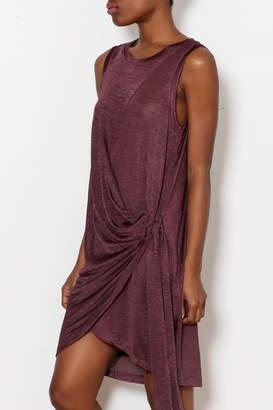 KORI AMERICA Unbalanced Shiny Knit Jersey Dress