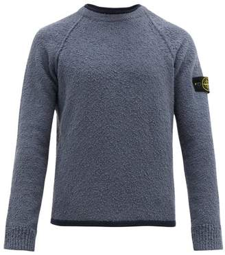 Stone Island Logo Patch Cotton Blend Chenille Sweater - Mens - Navy