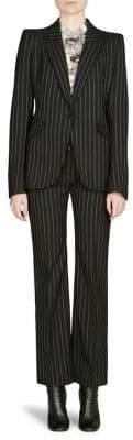 Alexander McQueen Pinstripe One-Button Blazer