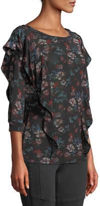 Free People Floral 3/4-Sleeve Ruffle Top