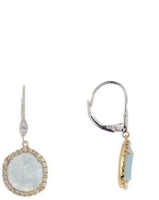 Meira T 14K Yellow Gold Milky Aquamarine & Diamond Drop Earrings