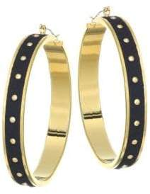 Kate Spade Studded Faux-Leather& 14K Goldplated Hoop Earrings