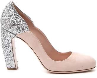 Miu Miu Glittered Block Heel Pumps