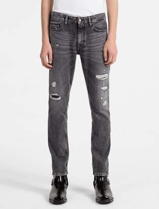 Calvin Klein slim straight faded black destructed jeans