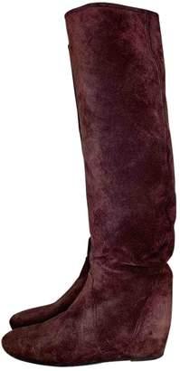 Lanvin Burgundy Suede Boots