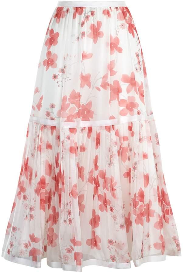 Armani Collezioni Tiered Print Midi Skirt, White, UK 12