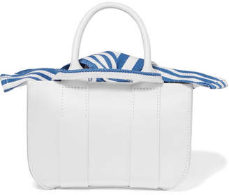 Muun Gilbert Micro Leather And Striped Cotton-canvas Tote - White