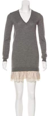 RED Valentino Lace-Trimmed Knit Dress