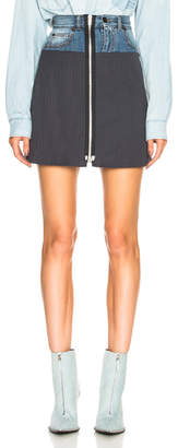 Maison Margiela Denim & Knit Zip Front Mini Skirt