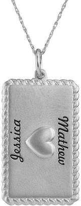 JCPenney FINE JEWELRY Personalized 14K White Gold Rectangular Puffed Heart Pendant Necklace