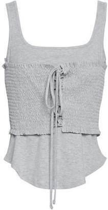 Cinq à Sept Sabine Lace-up Shirred Cotton-blend Jersey Tank