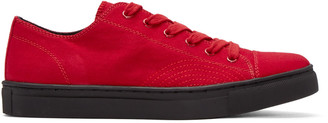 Yohji Yamamoto Red Canvas No. 8 Sneakers $670 thestylecure.com