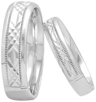 Unbranded His and Hers Sterling Silver Diamond Cut Matching Wedding Band Set Two-piece set