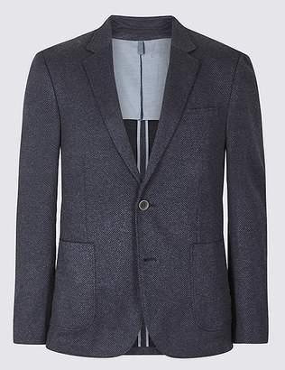 Marks and Spencer Cotton Blend Indigo Textured Slim Fit Jacket