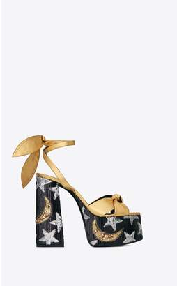 Saint Laurent Paige Sandals In Leather With Sequin Embroidery