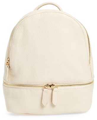 Girly Faux Leather Mini Zip Backpack - White