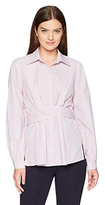 Lark & Ro Women's Woven Collared Top with Center Front Tie