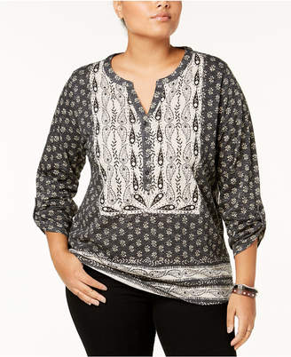 Style&Co. Style & Co Plus Size Cotton Mixed-Print Peasant Top