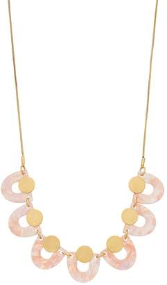 Gold Tone Disc & Pink Acetate Half Moon Statement Necklace