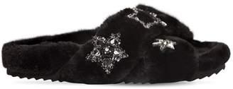 Colors of California 20mm Stars Faux Fur Slide Sandals
