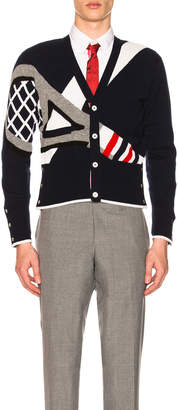 Thom Browne Classic Cashmere Tennis Racket Cardigan