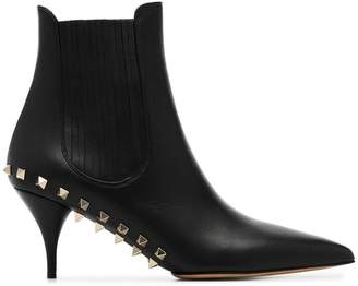 Valentino black garavani rockstud leather ankle boots