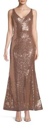 Jump Sequined Sleeveless Gown