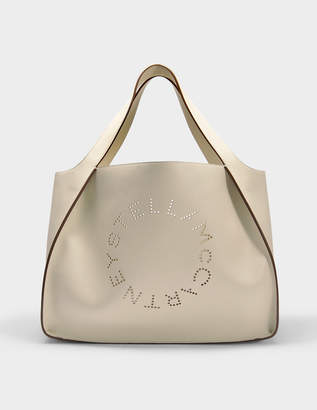Stella McCartney Oversize Alter Nappa East West Stella Logo Tote Bag in White Eco Leather