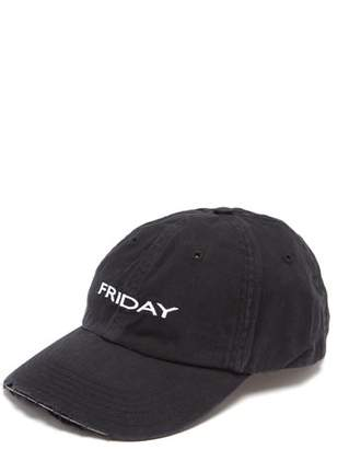Vetements X Reebok Friday Embroidered Cotton Cap - Womens - Black